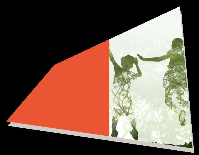 Siluetas de tres niños saltando y fondo de paisaje vegetal